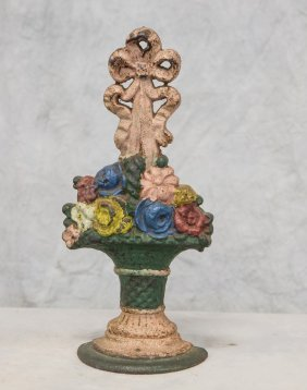 """Cast Iron Basket Of Flowers Door Stop, 16"""" H (repaint)"""
