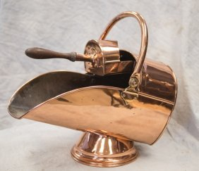 """English Copper Coal Scuttle And Shovel, About 21"""" Wide,"""