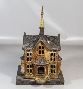 Rare Cast Iron Bird House With Wooden Base, Overall 16""