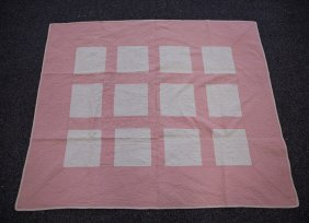 Pink And White Block Pattern Crib Quilt, Made By Irene