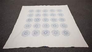Blue floral pattern friendship quilt, found in Bucks