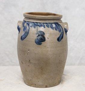 "2 Gallon Blue Decorated Stoneware Jar, Impressed ""2"","