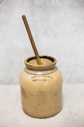 Stoneware One Gallon Butter Churn,wooden Lid & Dasher,