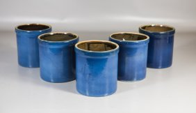 (5) Blue Glazed Graniteware Jars With Brown Interior, 6