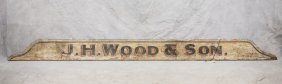 Painted Wood Trade Sign, Jh Wood & Son Sign, Found In