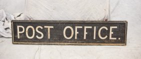 "Painted Wood Post Office Sign, 60"" X 13"""