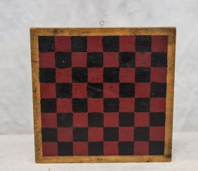 """Red & Black Painted Checkerboard With Gold Border, 9"""" X"""