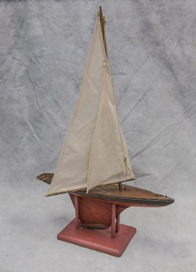"Painted Wood Jacrim Hollow-boat Model, C 1930, 29"" X"