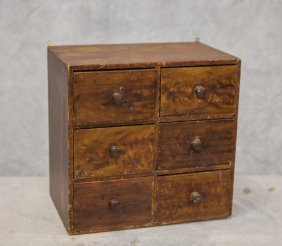 """Grain Painted 6-drawer Hanging Apothecary Cabinet, 17"""""""