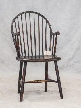 Black/dark Green Painted Windsor Chair, Break In Top