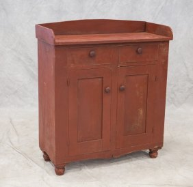 Jelly Cupboard Orig Red Paint, 2 Drawers Over 2 Doors,