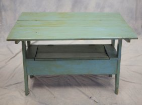 Green Painted Solid End Bench Table With Lift Seat, 3
