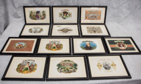 """13 Framed Cigar Labels, 11-3/8"""" X 7-7/8"""" Overall"""