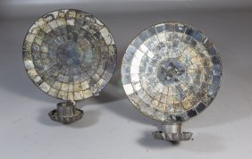 "Pair Of Tin And Mirrored Back Sconces, 8"" Diameter, 4"