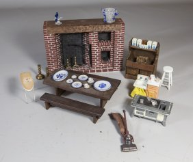 (24) Pieces Of Dollhouse Furniture And Accessories To