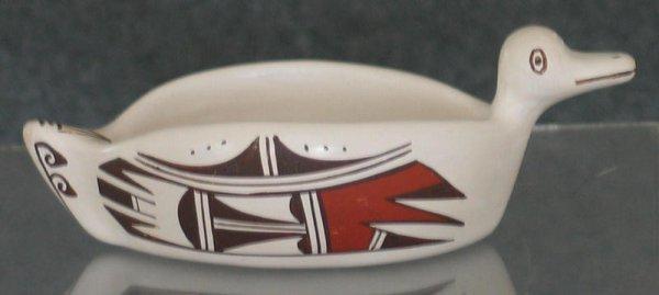 "74: Hopi Polychrome Duck, by Marianne Navasie, H 2""xD 6"