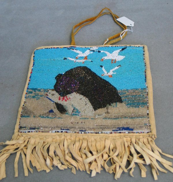 150: Beaded hide pictorial bag of overall square form w