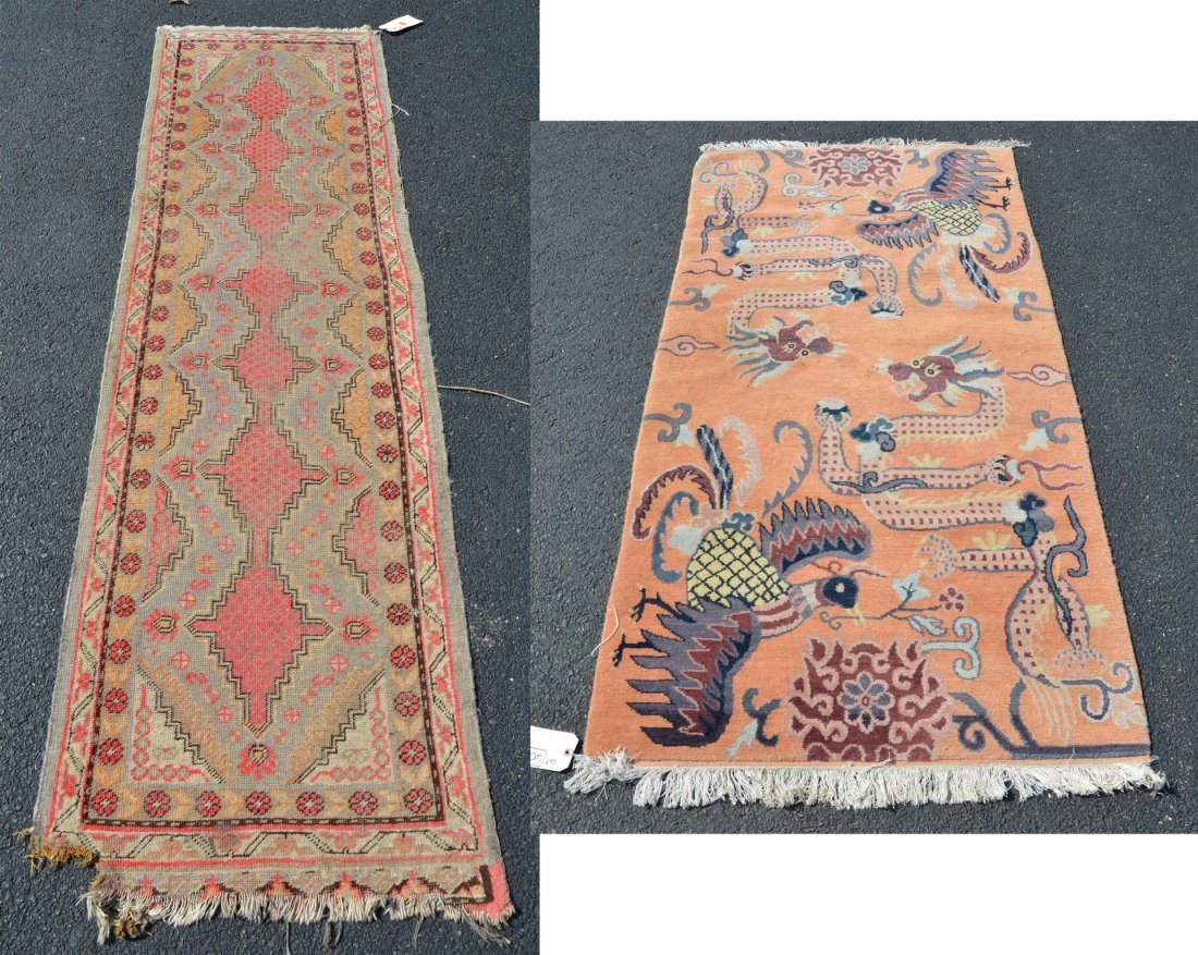 """(2) Carpets, to include: Chinese Throw rug, 3' x 6'1"""""""