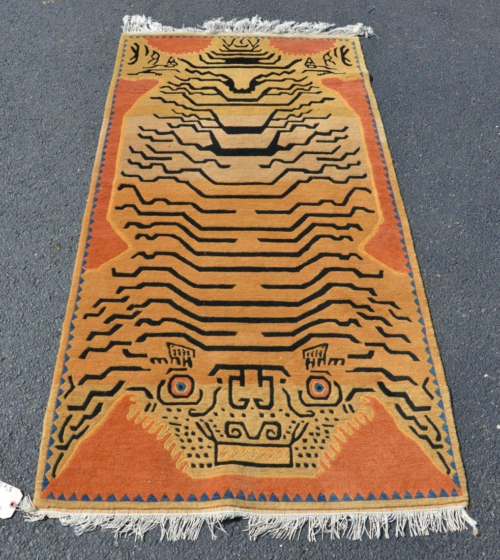 Chinese tiger carpet, 3' x 6'