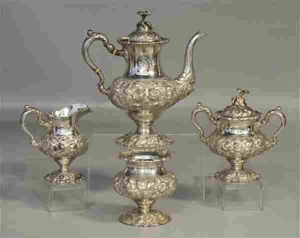 Stieff Rose repousse sterling silver tea set,