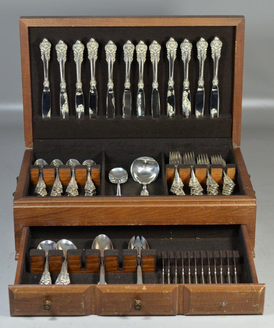 89 pcs Wallace Grand Baroque sterling silver flatware