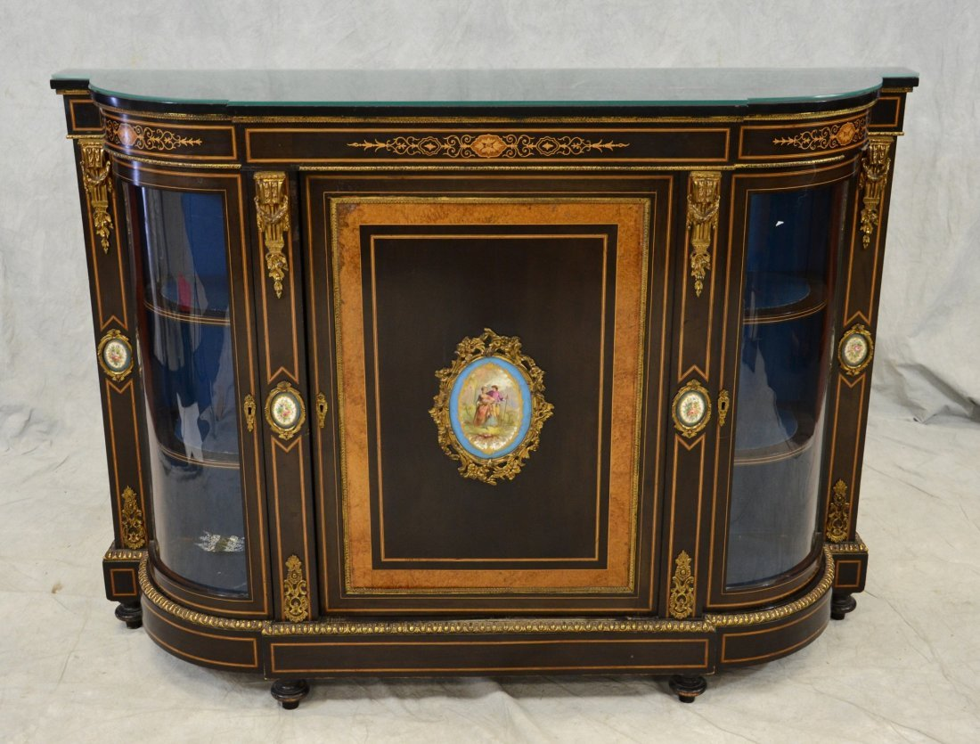 Carved and inlaid French side cabinet with Sevres type
