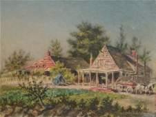 "American School (19th Century), oil on board, ""Old Hous"