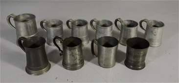 10 Pewter mugs various makers mostly pint  half