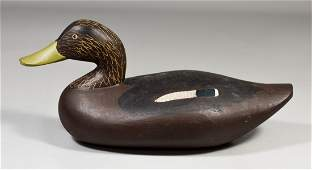Carved & painted duck decoy, marked Paul Gibson Havre