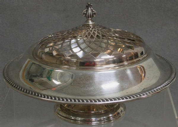 31: Preisner sterling silver center bowl with plated fr
