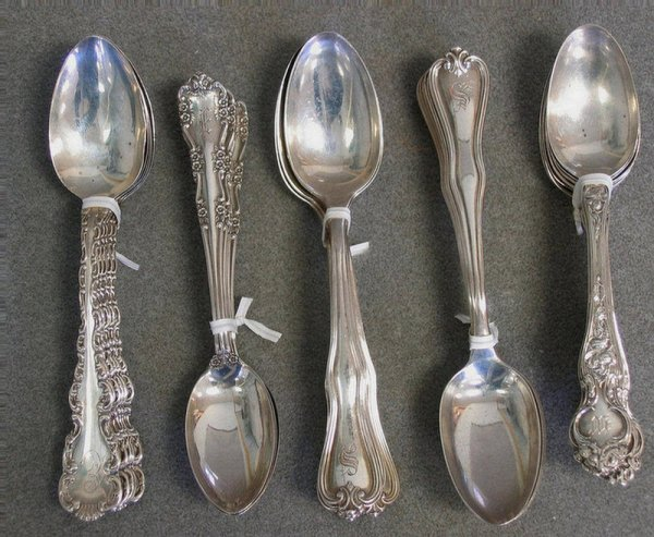 34: 5 sets (32 total)  of sterling silver teaspoons