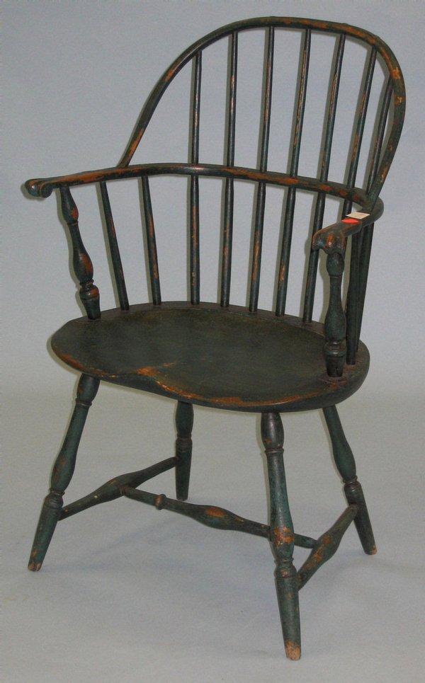 202: Reproduction Windsor style sack-back armchair