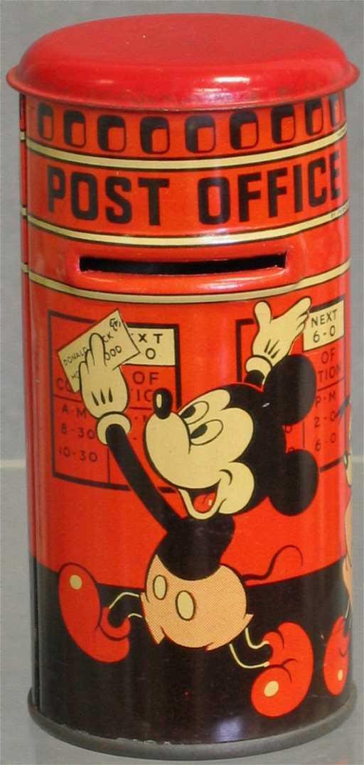 652 Tin Litho Mickey Mouse Post Office Bank PAGA Liv