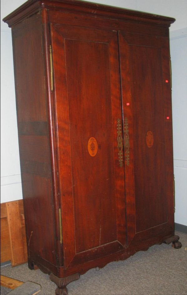 370: Inlaid mahogany 2 door French style armoire