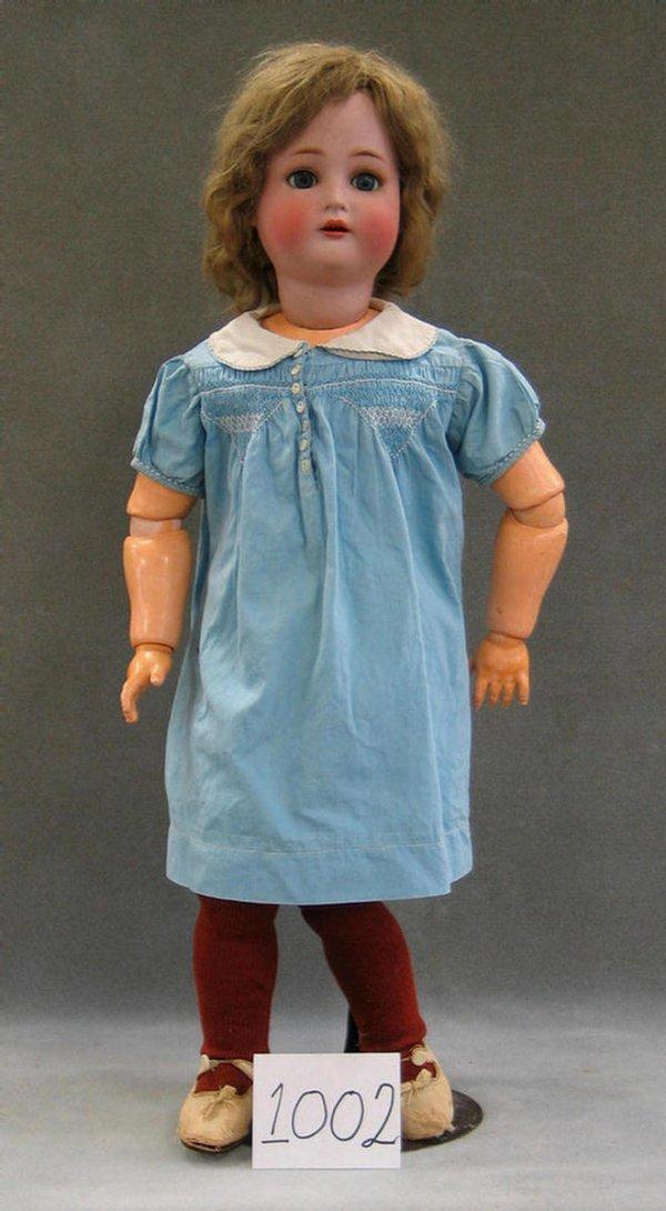 1002: K*R Simon & Halbig bisque head child doll, 29 1/2