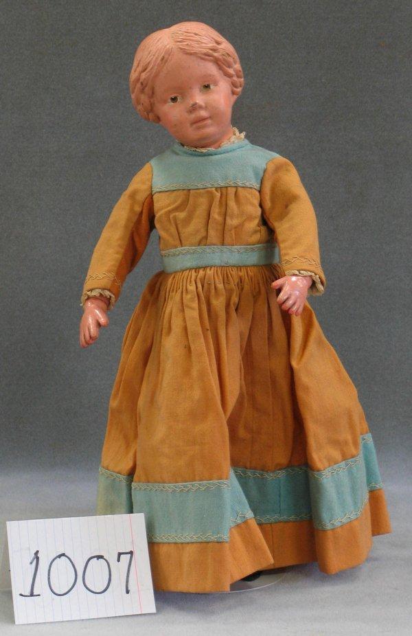 1007: Schoenhut 16/102 carved hair girl doll
