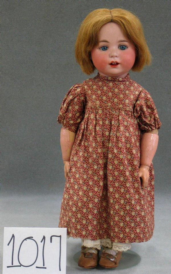 1017: Cuno & Otto Dressel bisque head toddler doll, 14
