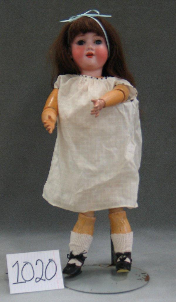 """1020: AM 390 bisque head child doll, 19"""""""