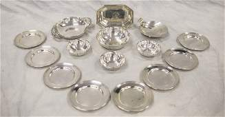 (15) Sterling silver table items,(4) American sterling