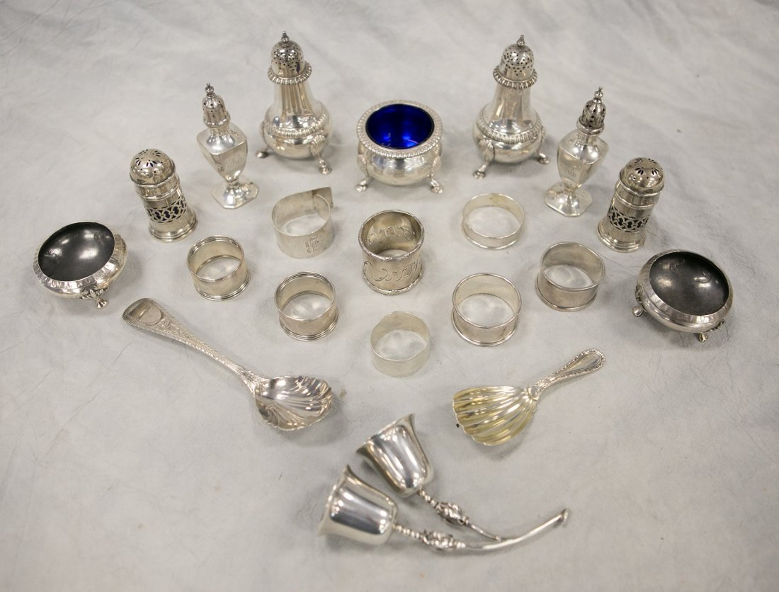 (19) Sterling silver table articles, 19th Century and