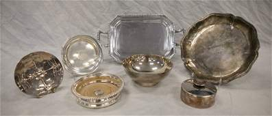 2 Christofle plated silver items round covered jar