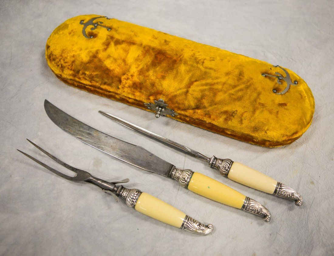 3-Piece Sheffield plated silver carving set in fitted