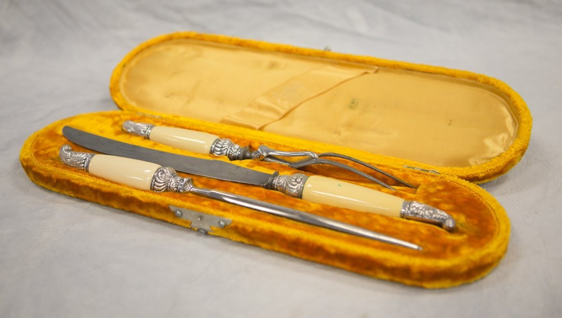 3-Piece Sheffield plated silver carving set in fitted - 2