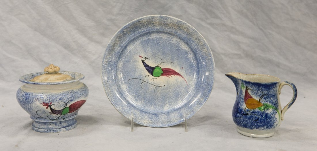 "3 Pieces blue peafowl spatterware, 3 3/4"" cream"