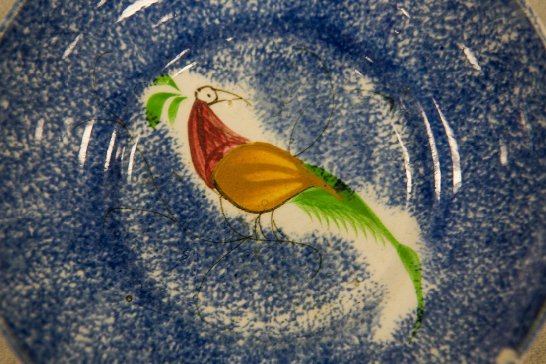 (5) Peafowl spatterware cups and saucers, (4) blue & - 2