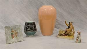 (5) Pieces ceramic ware, 20th C, c/o square-form