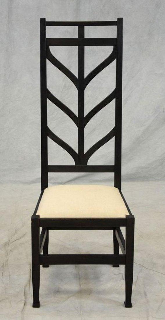 Black painted oak arts & crafts style high back side