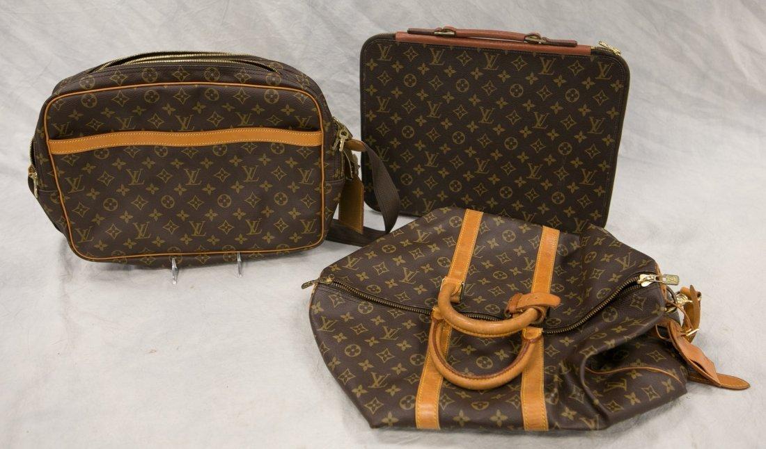 "(3) Louis Vuitton soft bags, portfolio, 15"" x 12"", JQD"