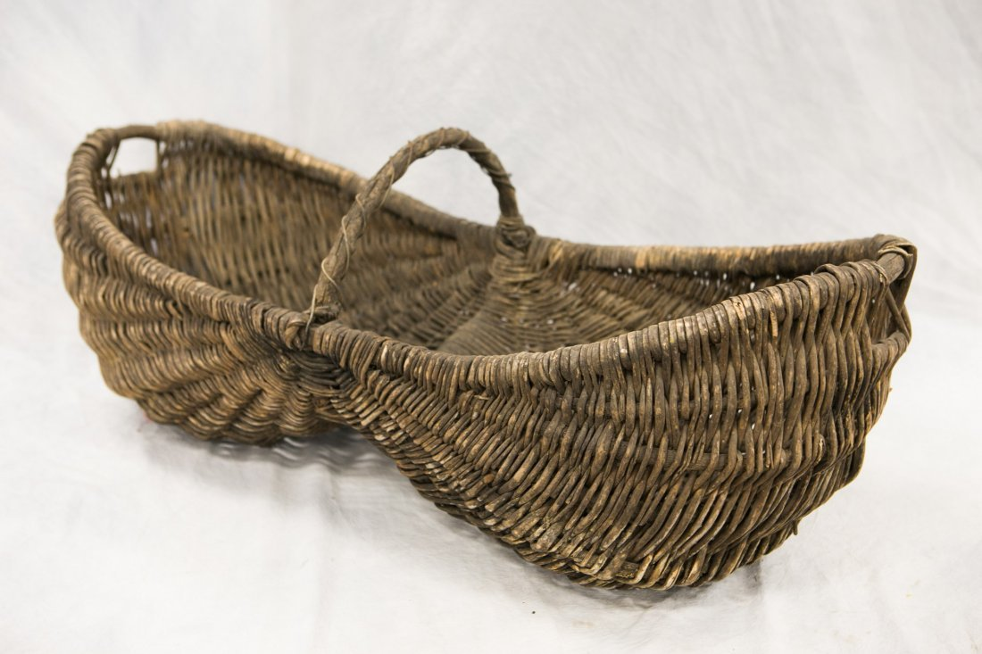 Oversized twig and rattan woven buttocks basket,