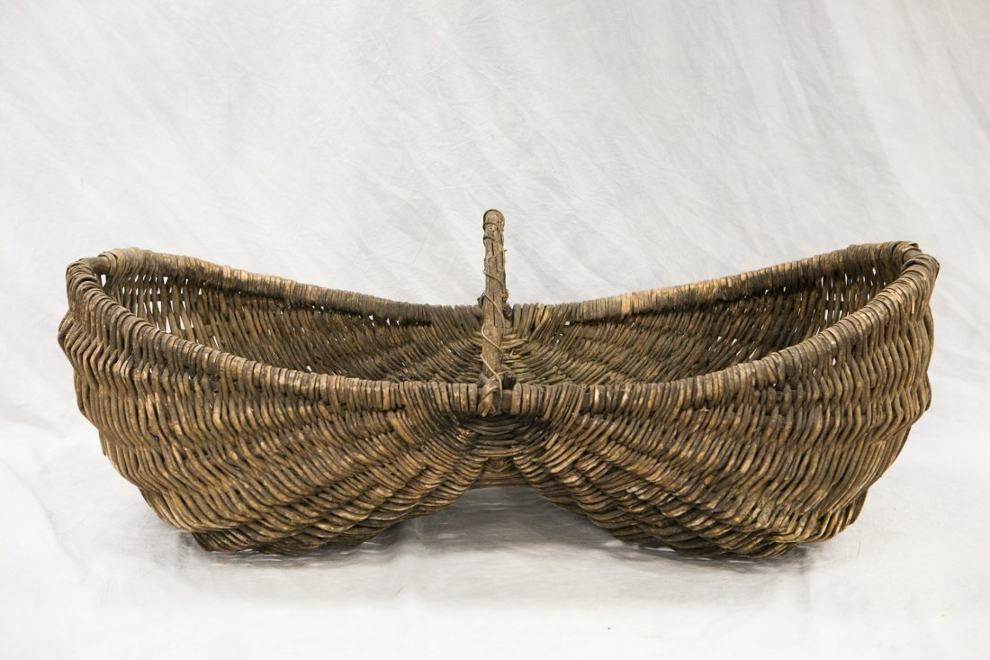 Oversized twig and rattan woven buttocks basket, - 2